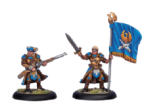 Cygnar Long Gunner Officer & Standard (2)